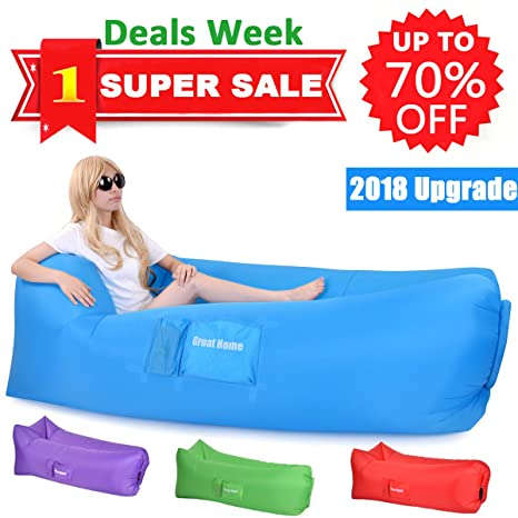 inflatable lounger sack chair couch air beach lazy hangout sofa bag lounge hammock gets inflated and amazon     inflatable lounger sack chair couch air beach lazy      rh   amazon