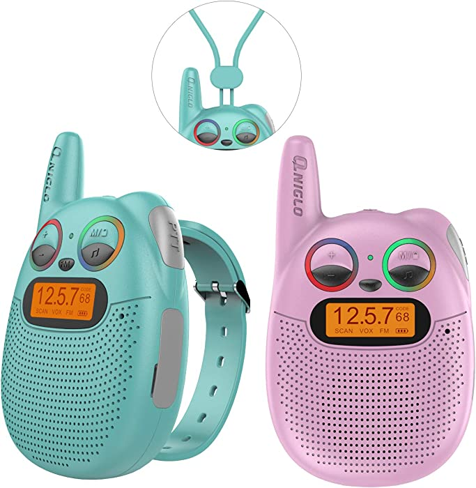 QNIGLO FRS Walkie Talkies with FM, Wearable & Rechargeable Walkie Talkies for Kids, up to 2 Miles Kids Walkie Talkies for Bicycle, Hiking, Camping, Running (Pink&Green)
