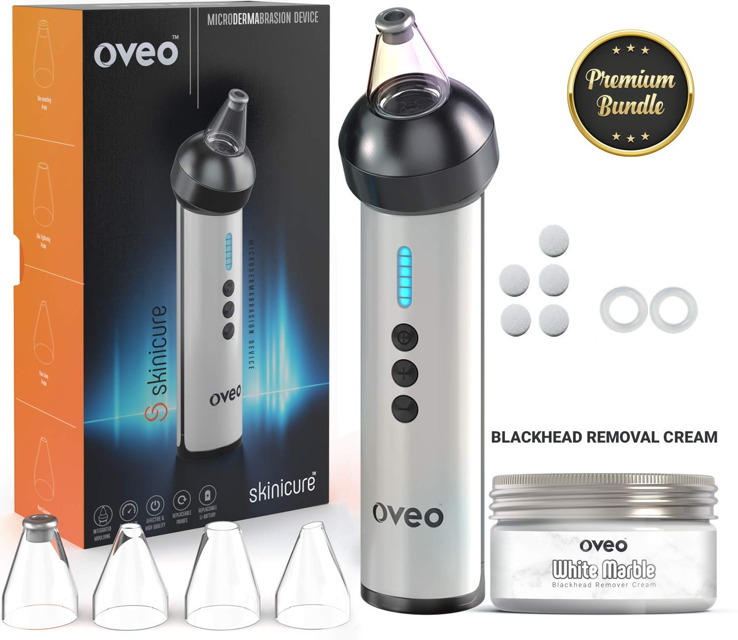 Advanced 1 Pore Vacuum Blackhead Eliminator, Acne Extractor, Pimple Remover, Facial Pore Cleanser – Comedo Suction Diamond Microdermabrasion Device by Oveo – Anti Aging Rechargeable and Portable