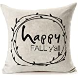 Home Decor Happy Fall Y'all Cotton Linen Pillow Covers 18x18,Baroncover Throw Pillow Case Cushion Cover for Sofa