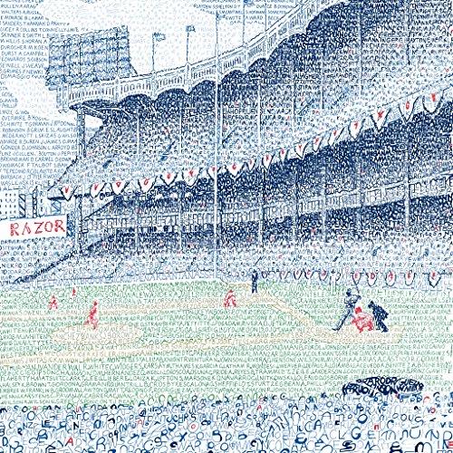 Yankee Stadium Word Art Poster - Handwritten All Time Roster - New York Yankees Artwork - Dorm Decor - Yankees Wall - New York Yankees Decor