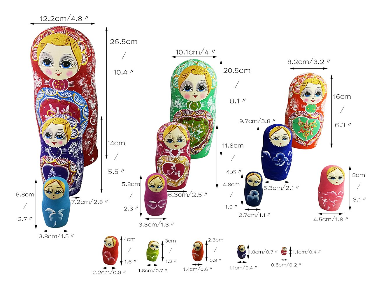 Winterworm Colorful Little Girl Heart Pattern Wooden Handmade Russian Nesting Dolls Matryoshka Dolls Set 15 Pieces for Kids Toy Birthday Home Decoration Collection by Winterworm (Image #4)