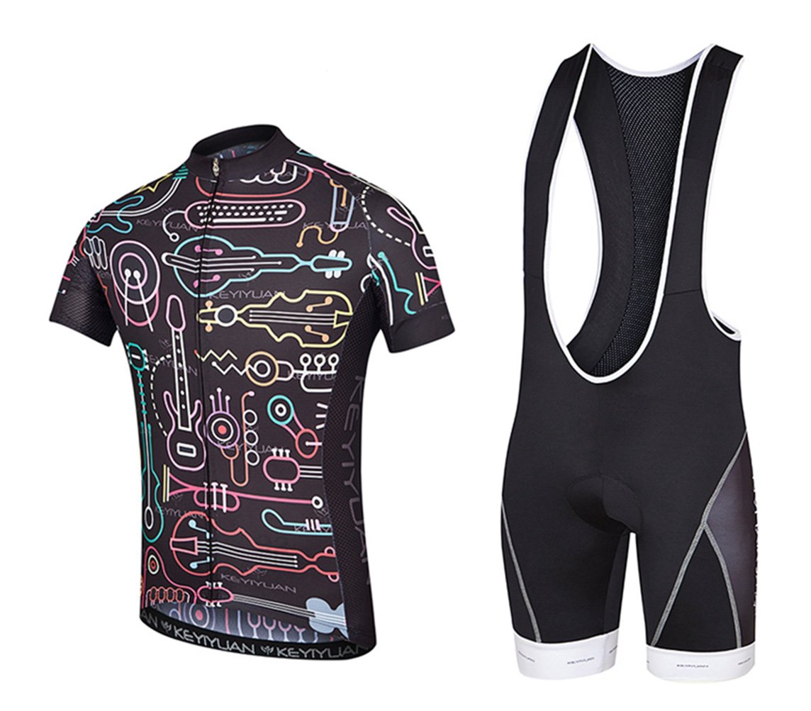 Uriahメンズ自転車ジャージBib Shortsセット半袖with Backファスナー付きバッグ B06XCYZX25 Chest 39.3''=Tag XL|Music Race Music Race Chest 39.3''=Tag XL