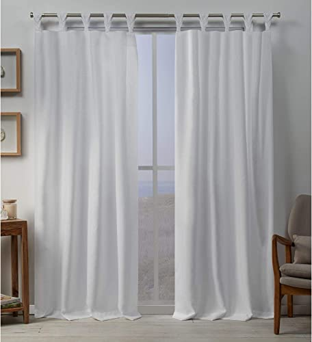 Exclusive Home Curtains Loha Linen Braided Tab Top Curtain Panel Pair, 54×108, Winter White