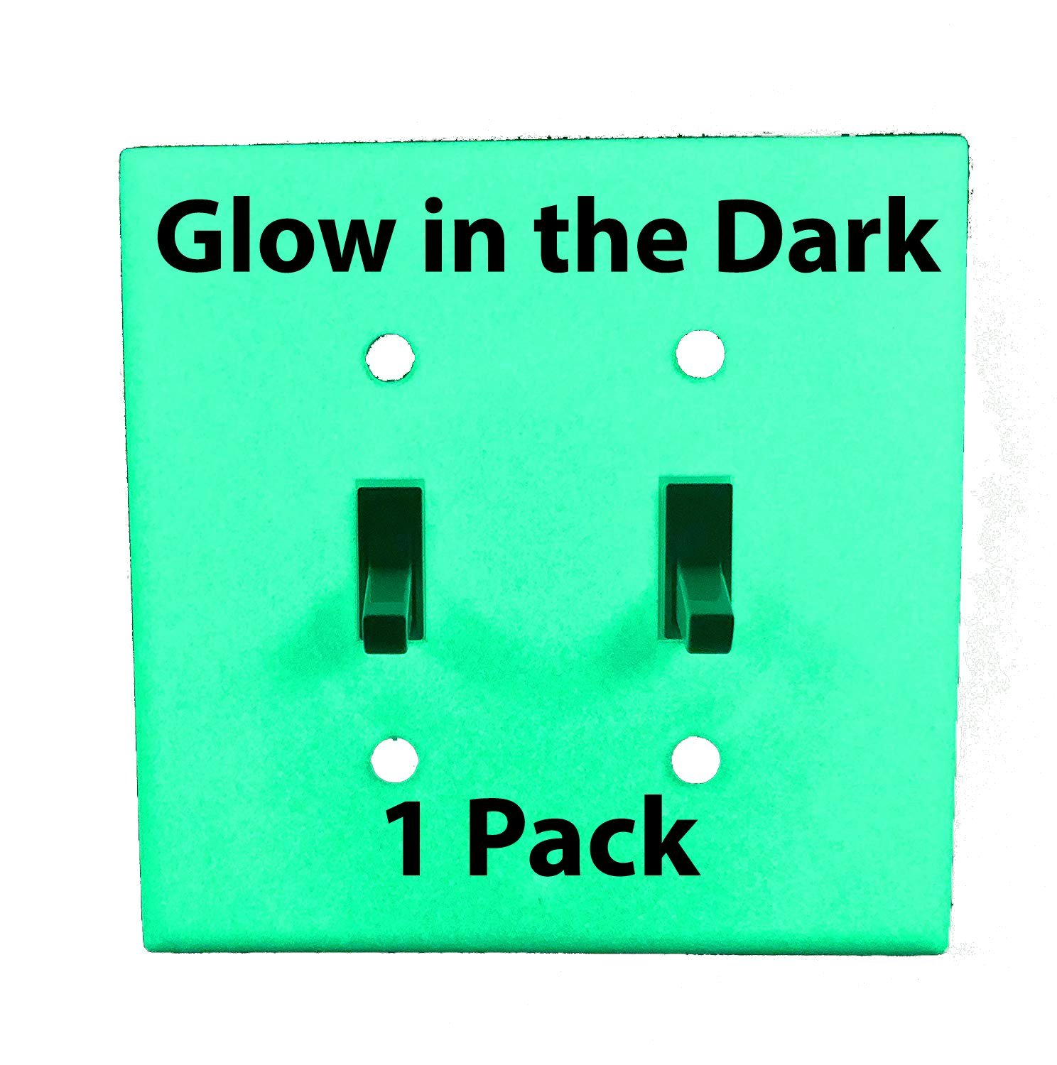 Glow in the Dark Safety 2-Gang Wall Cover Plate - White Plastic - Standard Size for Double Toggle Light Switch (Single Pack)