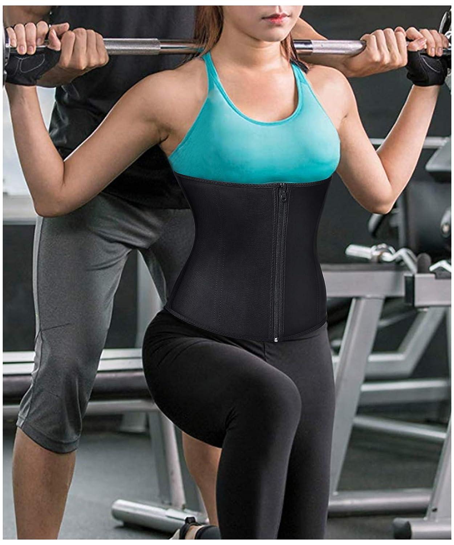 51f7ea2dc69 Bafully Womens Latex Tummy Control Weight Loss Waist Trainer Corset Body  Shaper with Zipper Hook Steel Boned