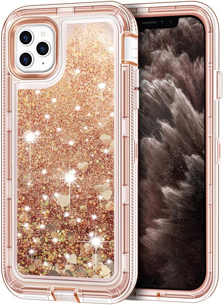 "iPhone 11 Pro Case, Anuck 3 in 1 Hybrid Heavy Duty Defender Armor Sparkly Floating Liquid Glitter Protective Hard Shell Shockproof Anti-Slip TPU Bumper Cover for Apple iPhone 11 Pro 5.8"" - Rose Gold"