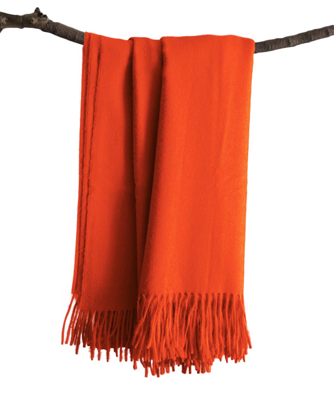Premium Super Soft Alpaca Wool Hand Woven Throw Pink (ORANGE)
