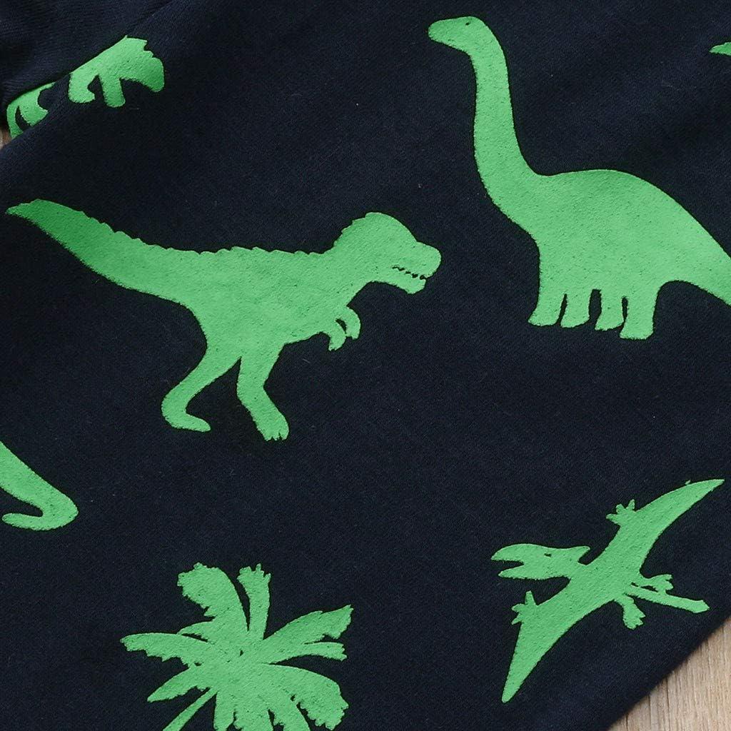 Pantaloni Casa Set Cotone Primaverili Estate 1-7 Anni Completo Bambini Ragazze E Ragazzi 2 Pezzi Tute Maglietta Manica Lungo Stampe Dinosauri Tute Bambino con Dinosauri