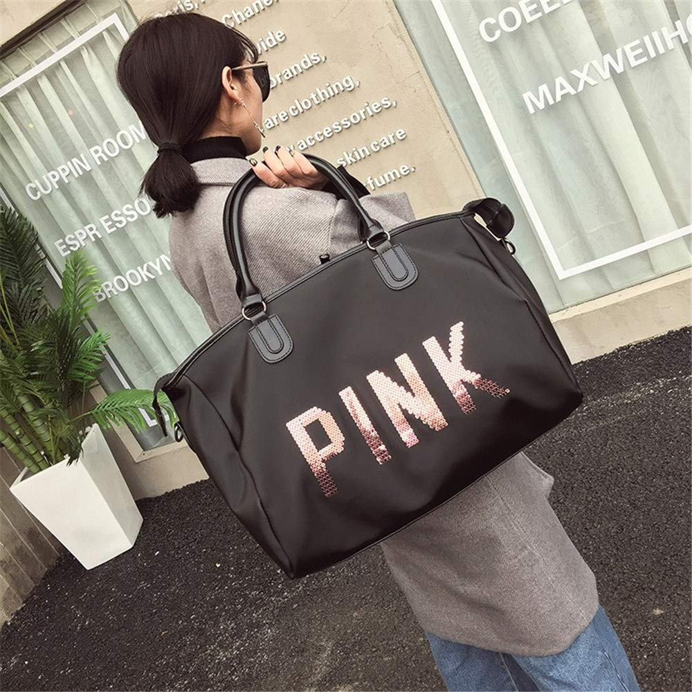 Ybriefbag Unisex Travel Bag Female Hand Luggage Bag Sequined Letter Travel Bag Fitness Bag Waterproof Mountaineering Bag Duffel Bag Vacation
