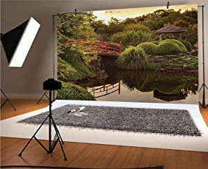 Japanese 10x8 FT Vinyl Photography Backdrop,Peaceful Garden in Twilight with Reflections in Water Red Bridge on Pond Sunset Background for Baby Birthday Party Wedding Studio Props Photography
