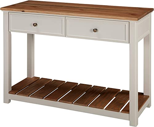 Savannah 40 W 2-Drawer Console Table, Ivory with Natural Wood Top