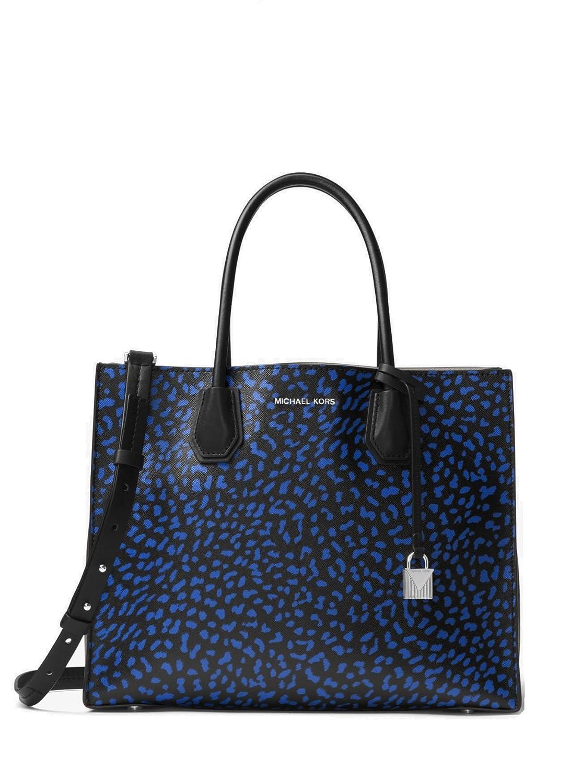 327c9ef5b4b115 Amazon.com: MICHAEL Michael Kors Mercer Large Leopard Leather Tote Bag ,  Electric Blue Black: Shoes
