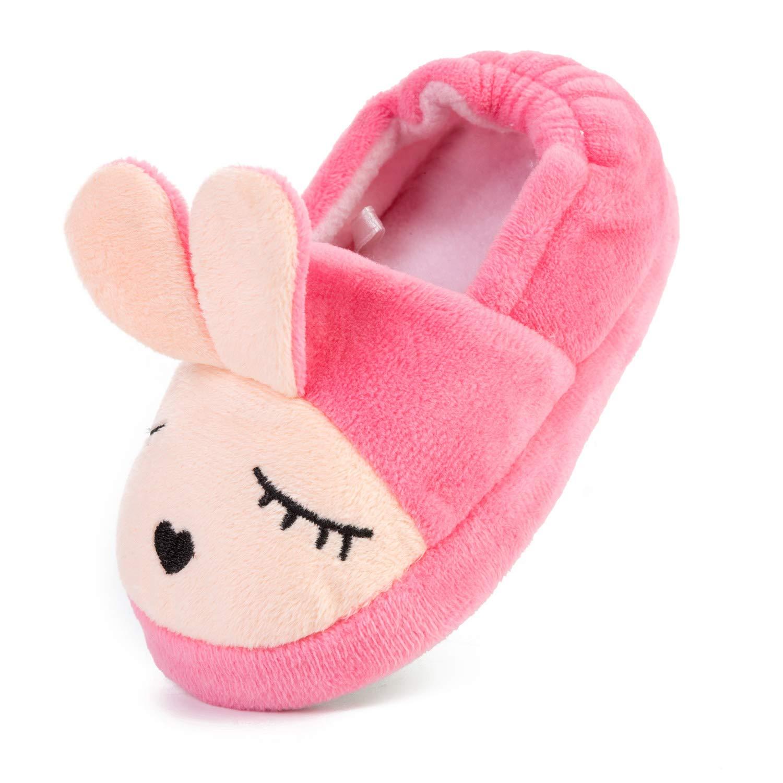 FEETCITY Cute Bunny Memory Foam Slide Slippers Boots Anti Slip Fluffy House Shoes Little Kid Size 12-12.5