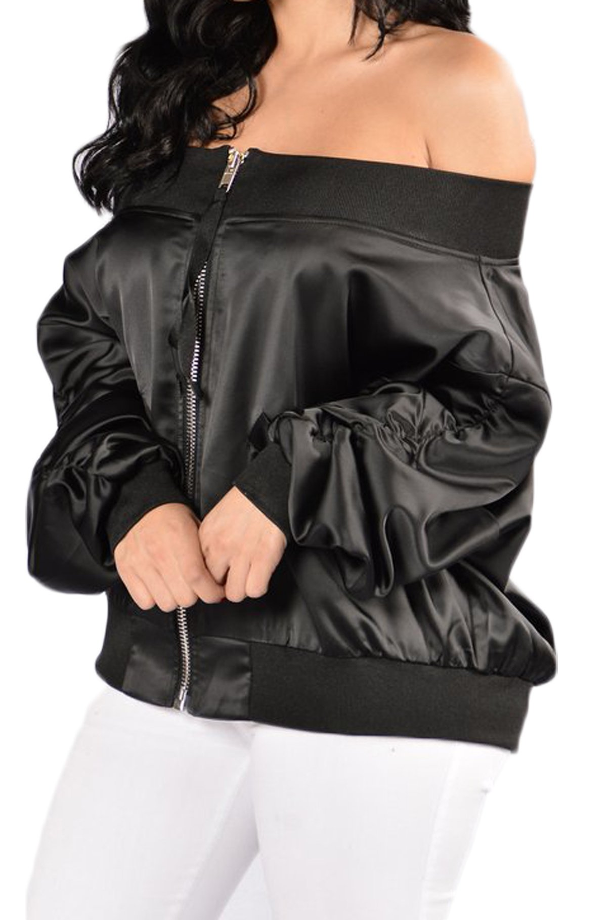 Farktop Women's Embroidery Patch Velvet Classic Biker Quilted Bomber Flight Jacket (S, Black-5)