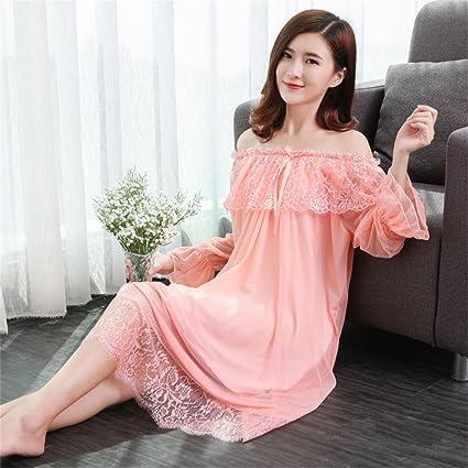SMC Pijamas para mujer Luxury Long Palace Ladies Lingerie Mujeres Primavera Verano Pestañas de Encaje Sexy