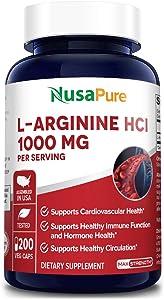 L-Arginine 1000 mg 200 Veggie Capsules (Non-GMO, 100% Vegetarian & Gluten Free) Amino Acid Arginine HCL Supplements for Women & Man - Supports Circulation and Cardiovascular Health