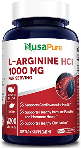 L-Arginine 1000 mg 200 Veggie Capsules Non-GMO, 100 Vegetarian Gluten Free Amino Acid Arginine HCL Supplements for Women Man – Supports Circulation and Cardiovascular Health