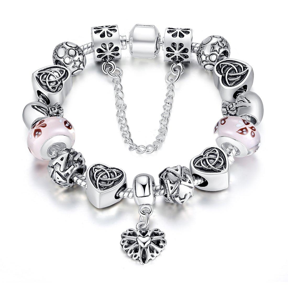 BISAER Murano Glass Beads Charm Bracelet Enameled Heart Silver Plated The World of Love Charm Bracelet European Style Snake Chain Bracelet Gifts for Teen Girls Christmas Gift 18cm (7)/20cm (7.8) Bamoer HJ1825