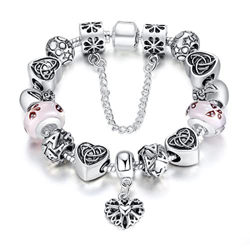 c6aa0dd8e BISAER Murano Glass Beads Charm Bracelet Enameled Heart Silver Plated The  World of Love Charm Bracelet European Style Snake Chain Bracelet Gifts for  Teen ...