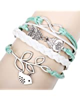 Real Spark(TM) Womens Girl Blue White Braided Leather Wrap Double Link Owl Bird Leaf Infinity Bracelet