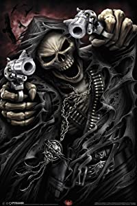 Pyramid America Spiral Assassin Grim Reaper with Guns Revolvers Skeleton Death Fantasy Horror Biker Cool Wall Decor Art Print Poster 12x18
