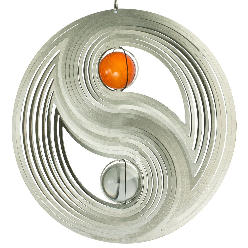 MIC Stainless steel wind spinner - YINYANG 300 - Dimension: Ø30cm, balls: 2xØ5cm - mit glass balls, ball-bearing, hook und 1m nylon cord Colours in Motion