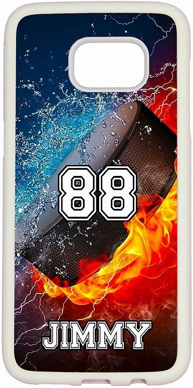 Galaxy S7 Coque, Artsycase Thunder Eau Fire Sport personnalisé Nom Numéro de téléphone Coque pour Samsung Galaxy S7, Hockey Puck / White Case