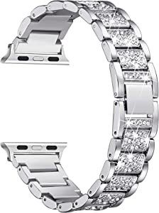Secbolt Bling Bands Compatible with Apple Watch Band 42mm 44mm Women iWatch SE Series 6/5/4/3/2/1, Dressy Jewelry Metal Bracelet with Rhinestones, Silver