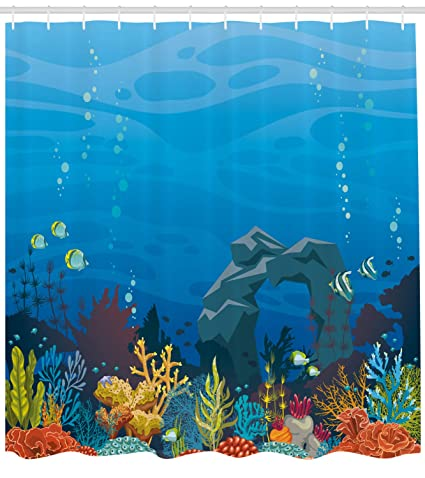 Ambesonne Aquarium Shower Curtain Colorful Coral Reef With Fishes And Stone Arch Under The Sea