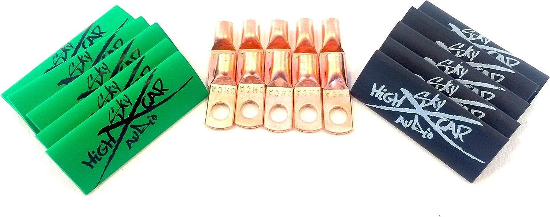 10 4 Gauge Copper Ring Terminals 1//4 Green//Black Heat Shrink Tubing Lugs