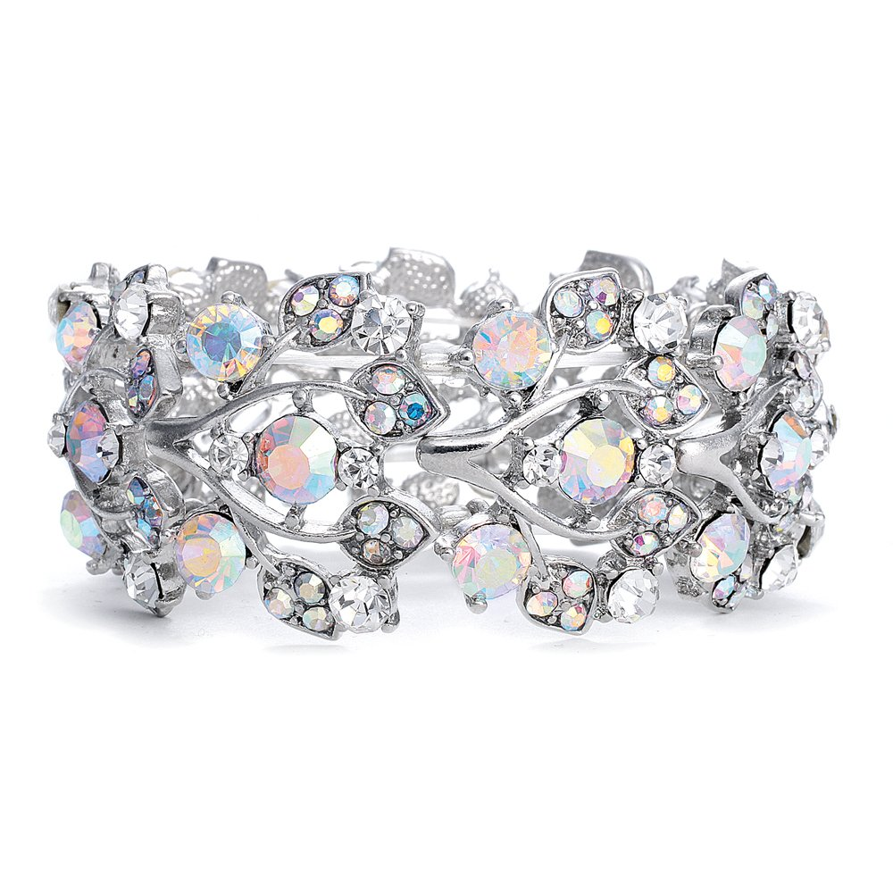 Mariell Aurora Borealis Crystal Stretch Bracelet - One Size Fits Most for Prom, Bridesmaids, and Weddings 644B