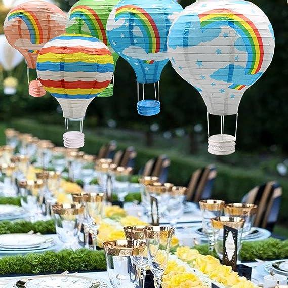 Hanging Rainbow Hot Air Balloon Paper Lanterns Set Party Decoration