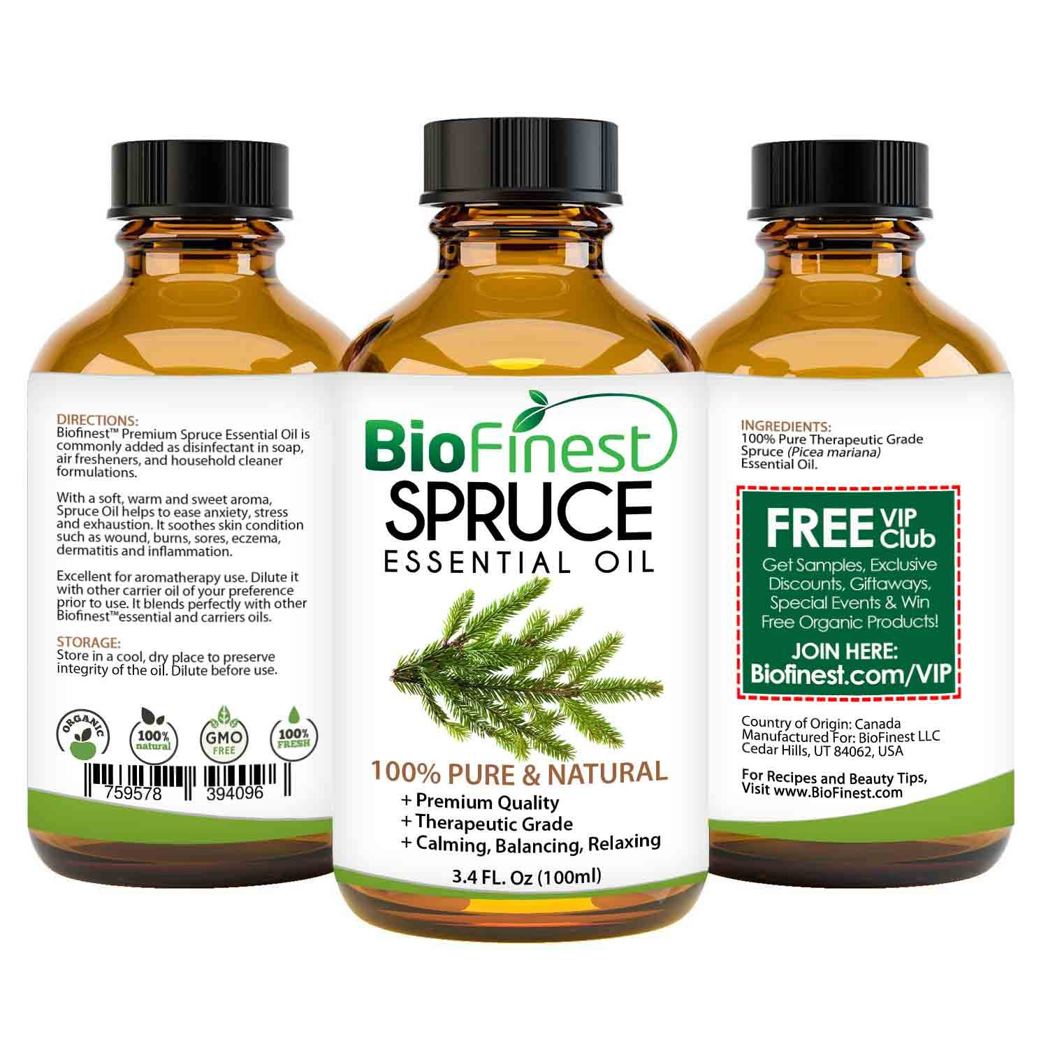 Biofinest Spruce Essential Oil - 100% Pure Organic Therapeutic Grade - Best for Aromatherapy, Skin and Hair Care, Ease Sleep Stress Bad Mood Fatigue Muscle Joint Pain - Free E-Book & Dropper (100ml) by BioFinest (Image #2)