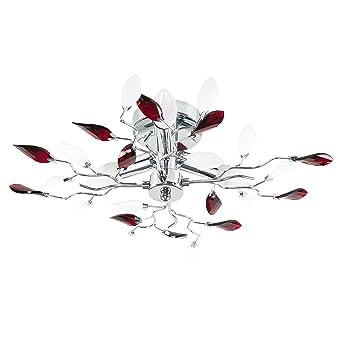 Minisun Plafonnier Lustre Aux 3 Branches élégant Fini En Chrome Avec Feuillage Décoré De Bijoux Acryliques Clair Givré Rouge