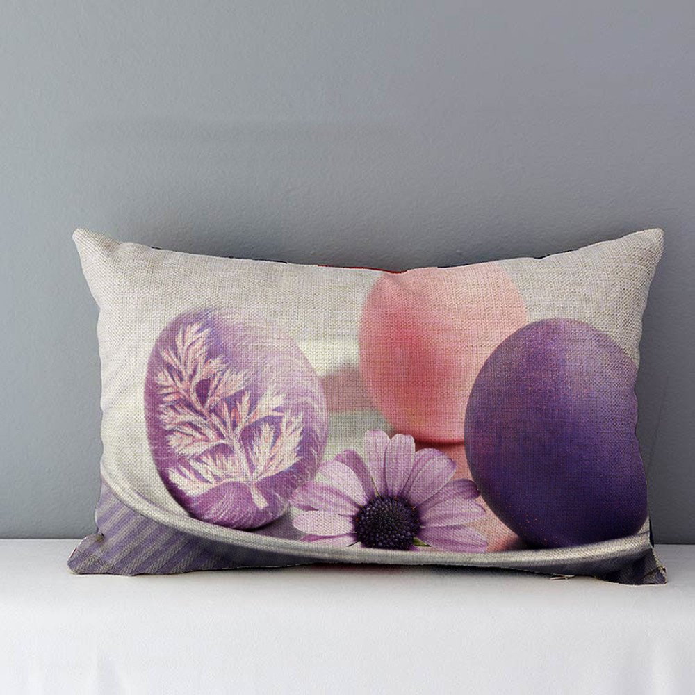 Geetobby Spring Blessing Gift Big Tree Flower Bunny Rabbit Happy Easter Linen Throw Pillow Case