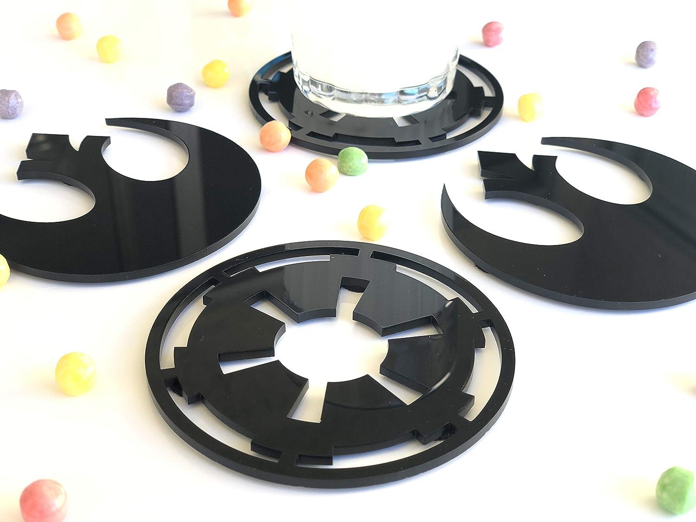Set of 4 Acrylic Coasters Hand Made Star Wars Logos Inspired