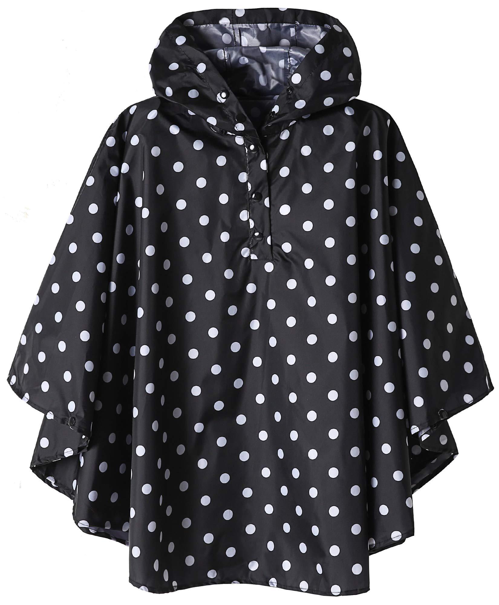 Kids Waterproof Rain Poncho Jacket Black Polka Dot Large by SaphiRose