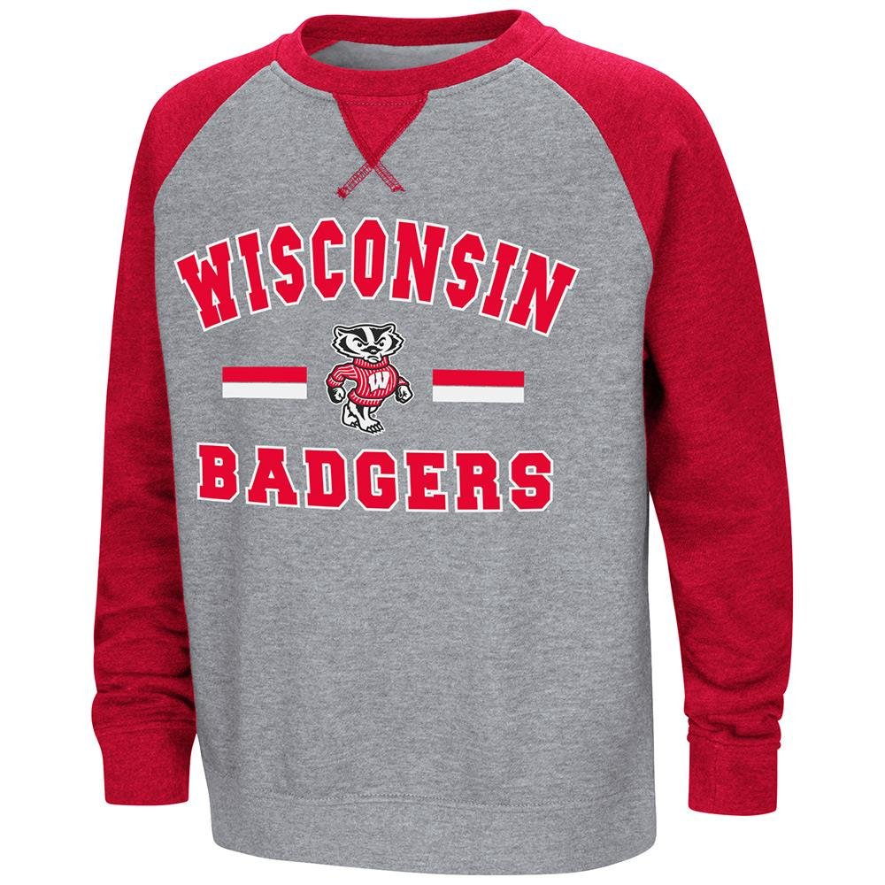 Colosseum Youth Wisconsin Badgersフリースクルーネックスウェットシャツ B07DWJ2GGN   Small (8/10)