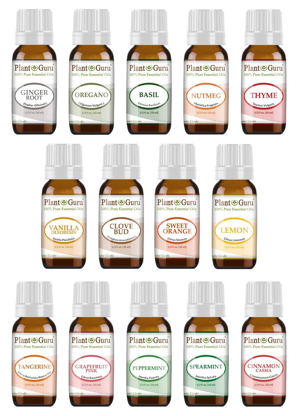 Kitchen Essential Oil Set 14-10 ml. 100% Pure Therapeutic Grade Includes Ginger, Oregano, Basil,...