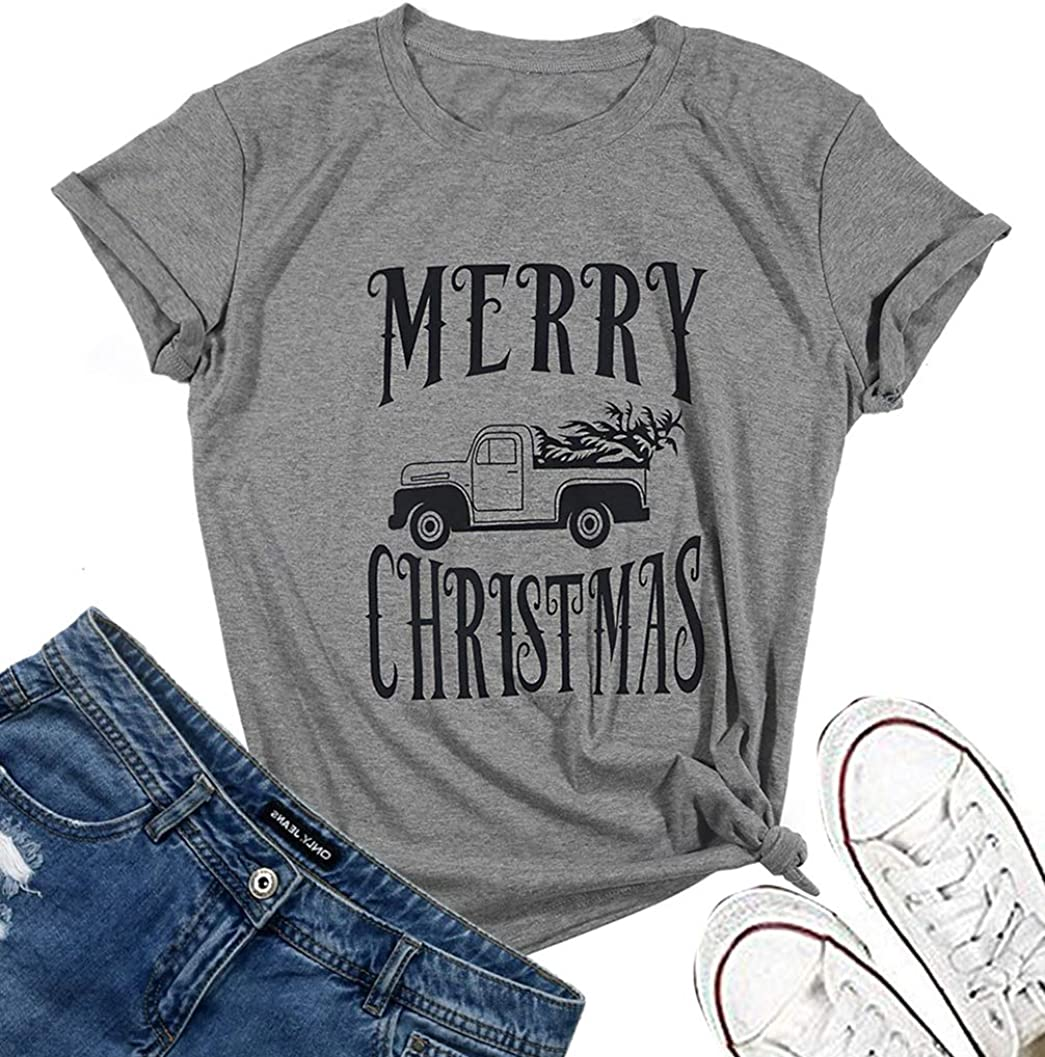Merry Christmas Leopard Tree Shirt for Womens Christmas Graphic Tee Shirts Tops