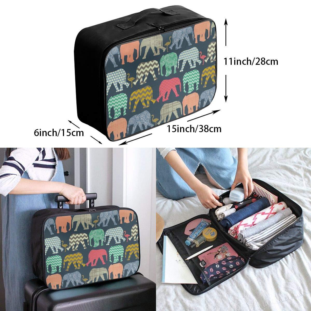 YueLJB Elephant Flamingo Art Print Lightweight Large Capacity Portable Luggage Bag Travel Duffel Bag Storage Carry Luggage Duffle Tote Bag