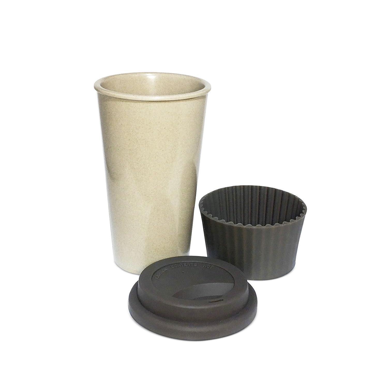 Eco Travel Chocolate Mug Vintage Style The Rice Way * Taza de café de Viaje Ecológica Grande con Tapa, Reutilizable y Resistente de 450ml Tazas para llevar ...
