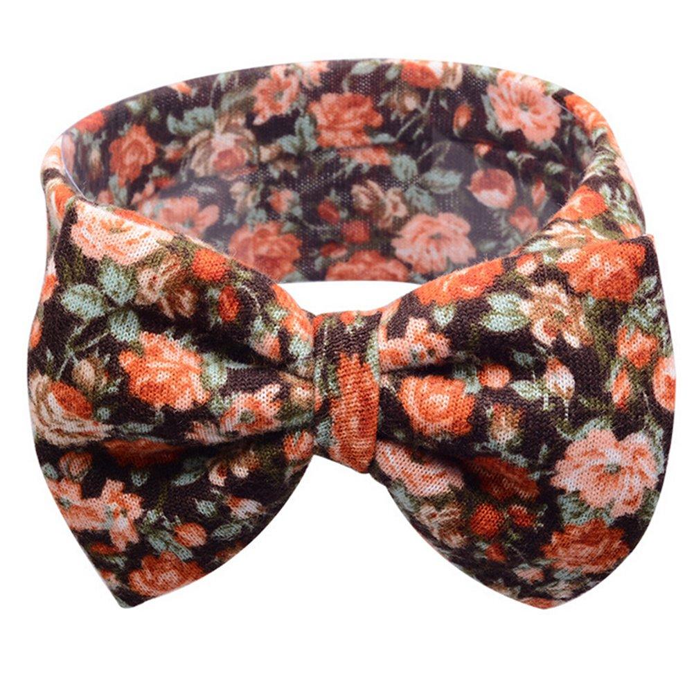 1 Pcs Baby Kids Big Bow Turban Knot Headband Floral Flower Hairband Wine Red