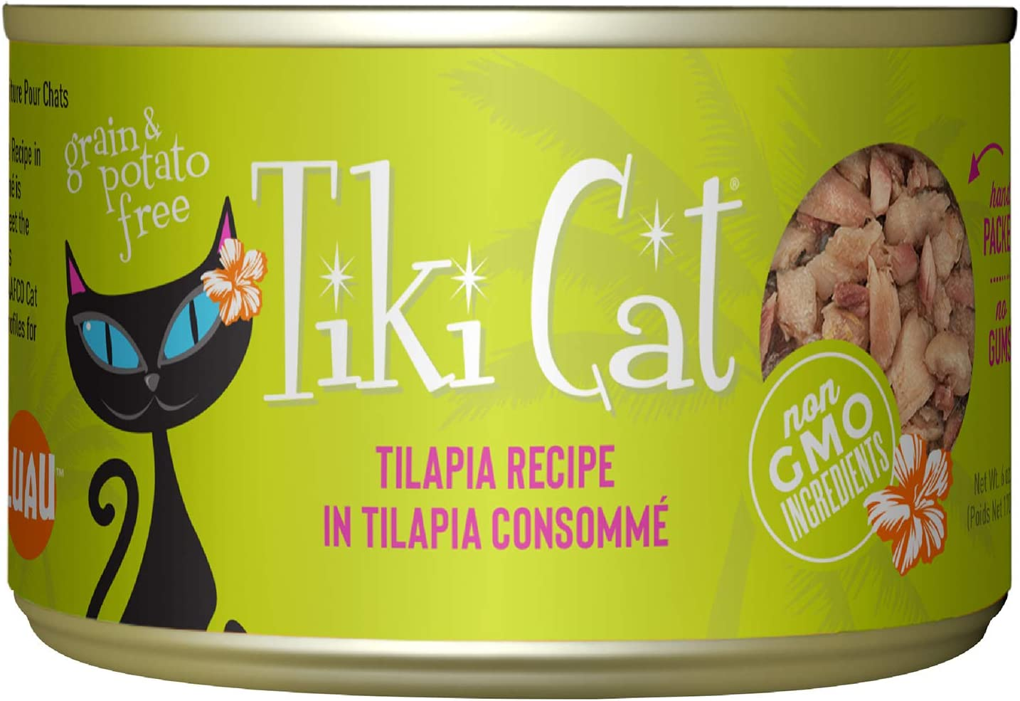 Tiki Cat Luau Grain-Free, Low-Carbohydrate Wet Food with Poultry or Fish in Consomme for Adult Cats & Kittens, 6oz, 8pk, Tilapia