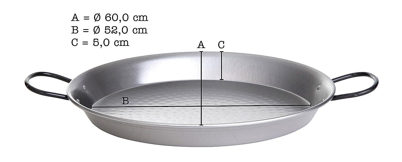 Paella de sartén, de acero inoxidable pulido, 60 cm de ...
