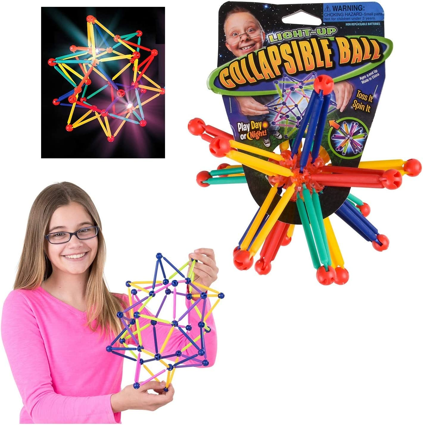 Multicolored Expandable and Contractible Sphere Prizes 12 Light-Up Collapsible Ball Gifts and Supplies Party Favors Expandable Fun for Everyone Great for Sensory and Tactile Stimulation Come in Assorted Colors.