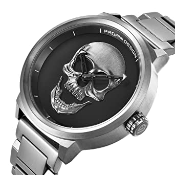 PAGANI DESIGN Mens 30M Water Resistant Watch 3D Skull Dial Design Stainless Steel Quartz Wristwatch