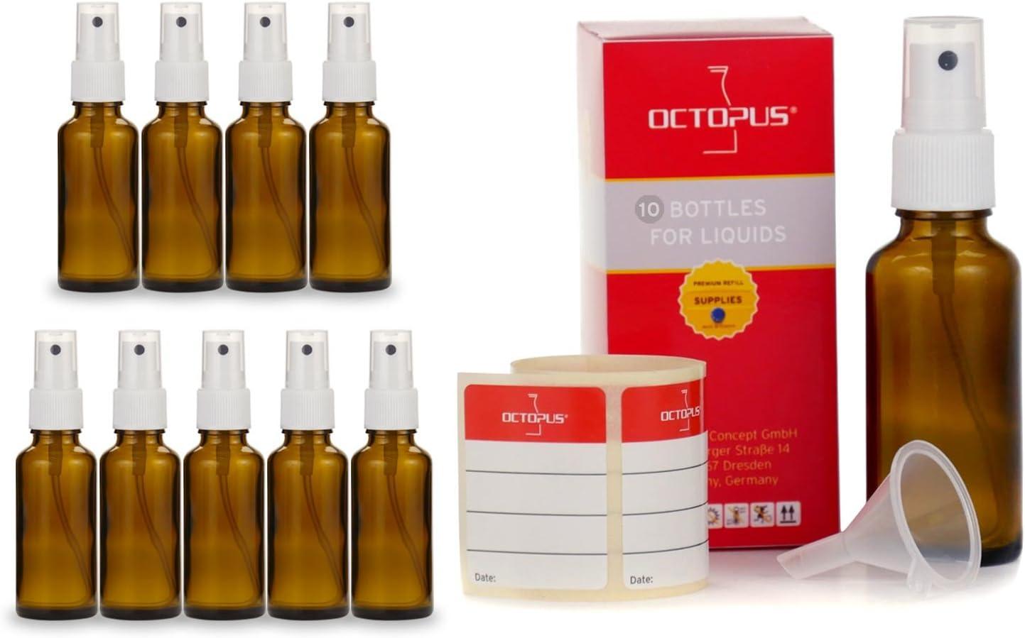 Octopus 10 Botellas de Vidrio marrón de 30 ml con pulverizador Manual, Mini Embudo + Etiquetas identificativas, Botella de Spray con protección UV, Botellas de pulverización con rociador de Bombeo