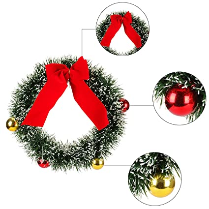 3springs home decoration wreath christmas wreath small two color tinsel wreath - Small Christmas Wreaths